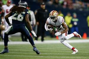 SEATTLE, WA - DECEMBER 29: Emmanuel Sanders #17 of the San Francisco 49ers runs after making a reception during the game against the Seattle Seahawks at CenturyLink Field on December 29, 2019 in Seattle, Washington. The 49ers defeated the Seahawks 26-21. (Photo by Michael Zagaris/San Francisco 49ers/Getty Images)