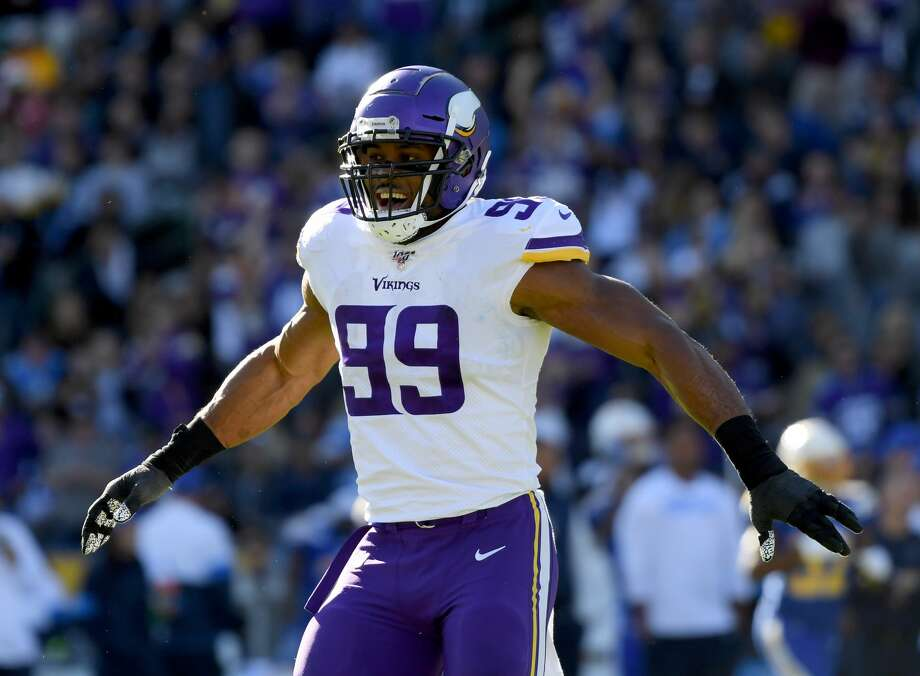 MINNESOTA VIKINGS Danielle Hunter, DE, Morton RanchThe two-time Pro Bowler has been in the top five in sacks with 14.5 in each of the past two seasons. Photo: Harry How/Getty Images