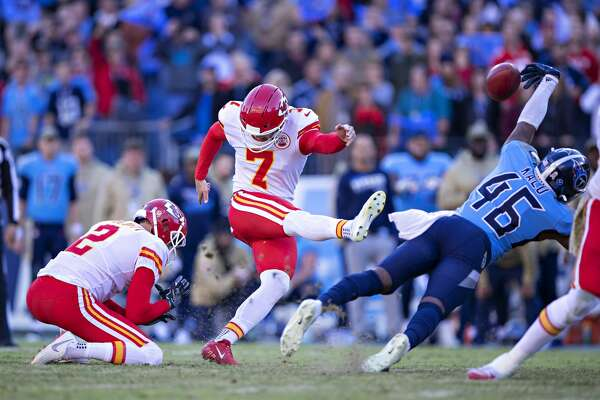NASHVILLE, TN - NOVEMBER 10: Joshua Kalu #46 of the Tennessee Titans blocks a game tying field goal attempt at the end of the game by Harrison Butker #7 of the Kansas City Chiefs at Nissan Stadium on November 10, 2019 in Nashville, Tennessee. The Titans defeated the Chiefs 35-32. (Photo by Wesley Hitt/Getty Images)