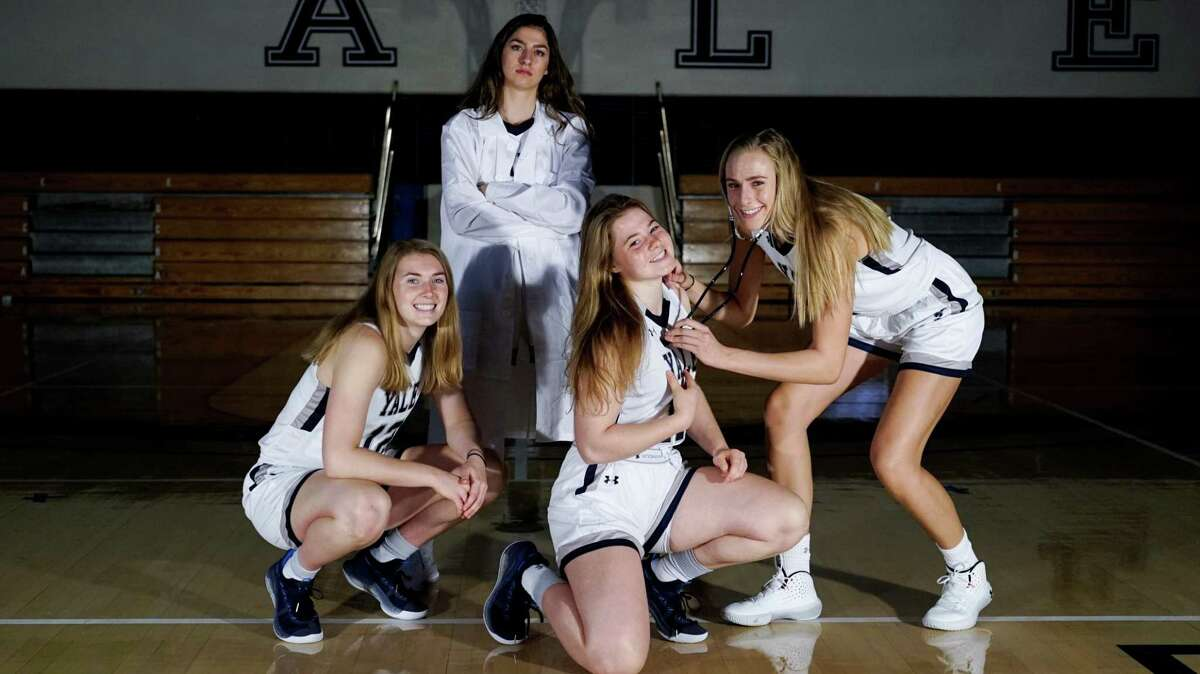 Yale women's basketball players left to right: Robin Gallagher, Roxy Barahman, Klara Astrom and Camilla Emsbo. All are pre-med students.