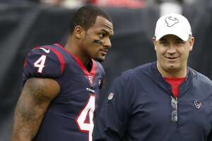 Houston Texans quarterback Deshaun Watson (4) and head coach Bill O'Brien talk on the field before an NFL football game against the Tennessee Titans at NRG Stadium on Sunday, Dec. 29, 2019, in Houston.