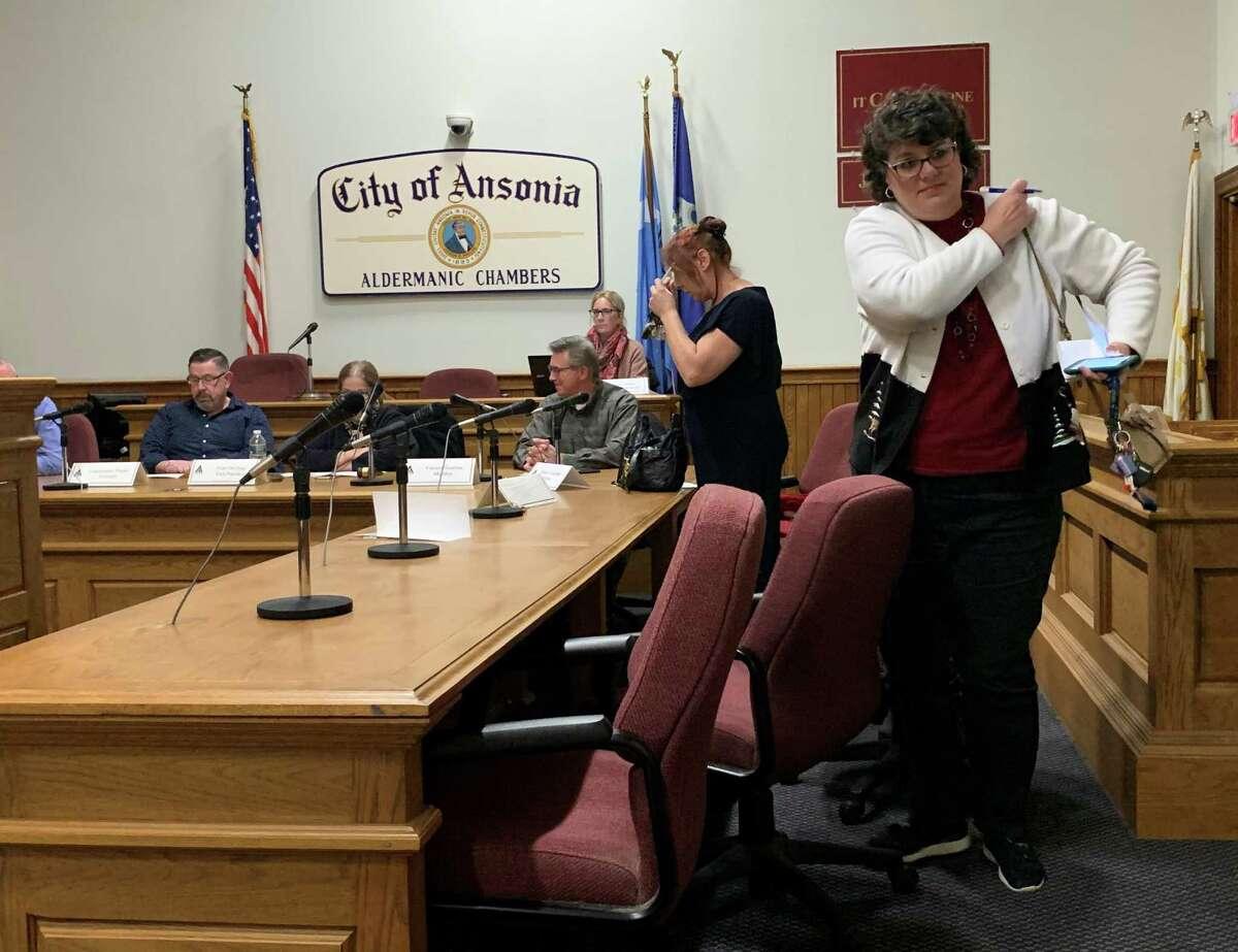 Ansonia Republican Board of Education Members Tracey DeLibero and Sharon Voroschak.