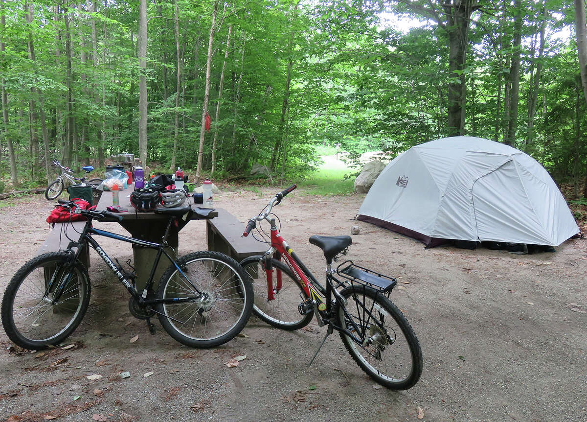 Convincing his family to do a bikepacking trip was Herb Terns' greatest 2019 achievement. Their gear at the Moosalamoo Campground in Vermont. (Herb Terns / Times Union)