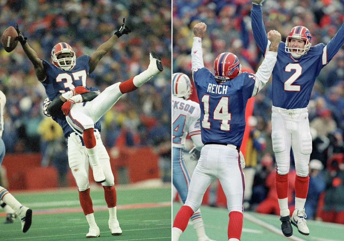 FILE - At left, in a Jan. 3, 1993, file photo, Buffalo Bills cornerback Nate Odoms gets a lift from teammate Henry Jones after intercepting a pass by Warren Moon of the Houston Oilers during an overtime period of an AFC wild-card game to set up Steve Christie's game winning field goal, in Orchard Park, N.Y. At right, Bills kicker Steve Christie, right, celebrates his game-winning field goal with quarterback Frank Reich. The Bills, down 32 points, beat the Oilers 41-38. (AP Photo/John Hickey, File)