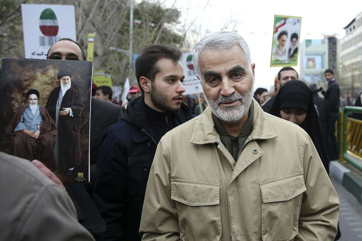 FILE - In this Thursday, Feb. 11, 2016, file photo, Qassem Soleimani, commander of Iran's Quds Force, attends an annual rally commemorating the anniversary of the 1979 Islamic revolution, in Tehran, Iran. Iraqi TV and three Iraqi officials said Friday, Jan. 3, 2020, that Gen. Qassim Soleimani, the head of Iran's elite Quds Force, has been killed in an airstrike at Baghdad's international airport. (AP Photo/Ebrahim Noroozi, File)