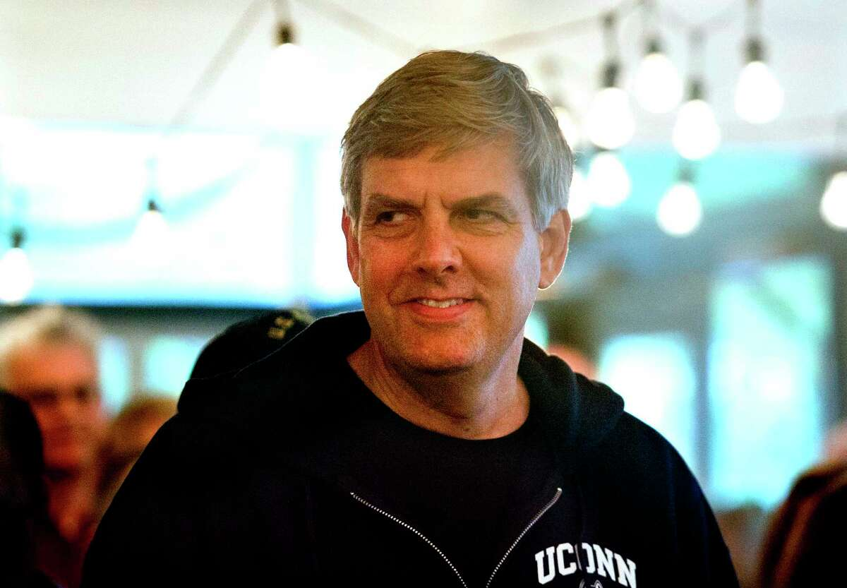 Republican gubernatorial candidate Bob Stefanowski makes a campaign stop at the Harborview Market in the Black Rock section in Bridgeport, Conn., on Saturday, Oct. 27, 2018. Earlier in the day he stopped in Wilton to watch the annual Halloween Trick or Treat Parade.