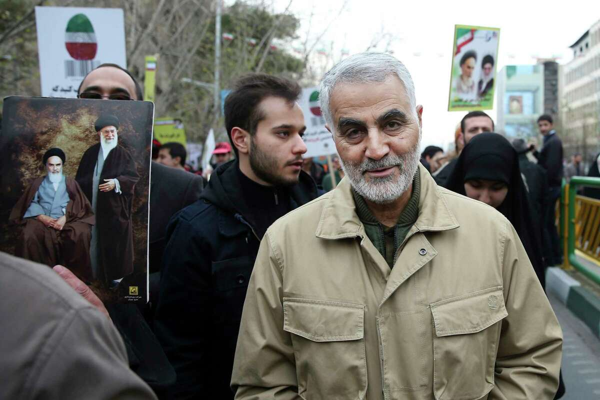 FILE - In this Thursday, Feb. 11, 2016, file photo, Qassem Soleimani, commander of Iran's Quds Force, attends an annual rally commemorating the anniversary of the 1979 Islamic revolution, in Tehran, Iran. Iraqi TV and three Iraqi officials said Friday, Jan. 3, 2020, that Gen. Qassem Soleimani, the head of Irana€™s elite Quds Force, has been killed in an airstrike at Baghdada€™s international airport. (AP Photo/Ebrahim Noroozi, File)