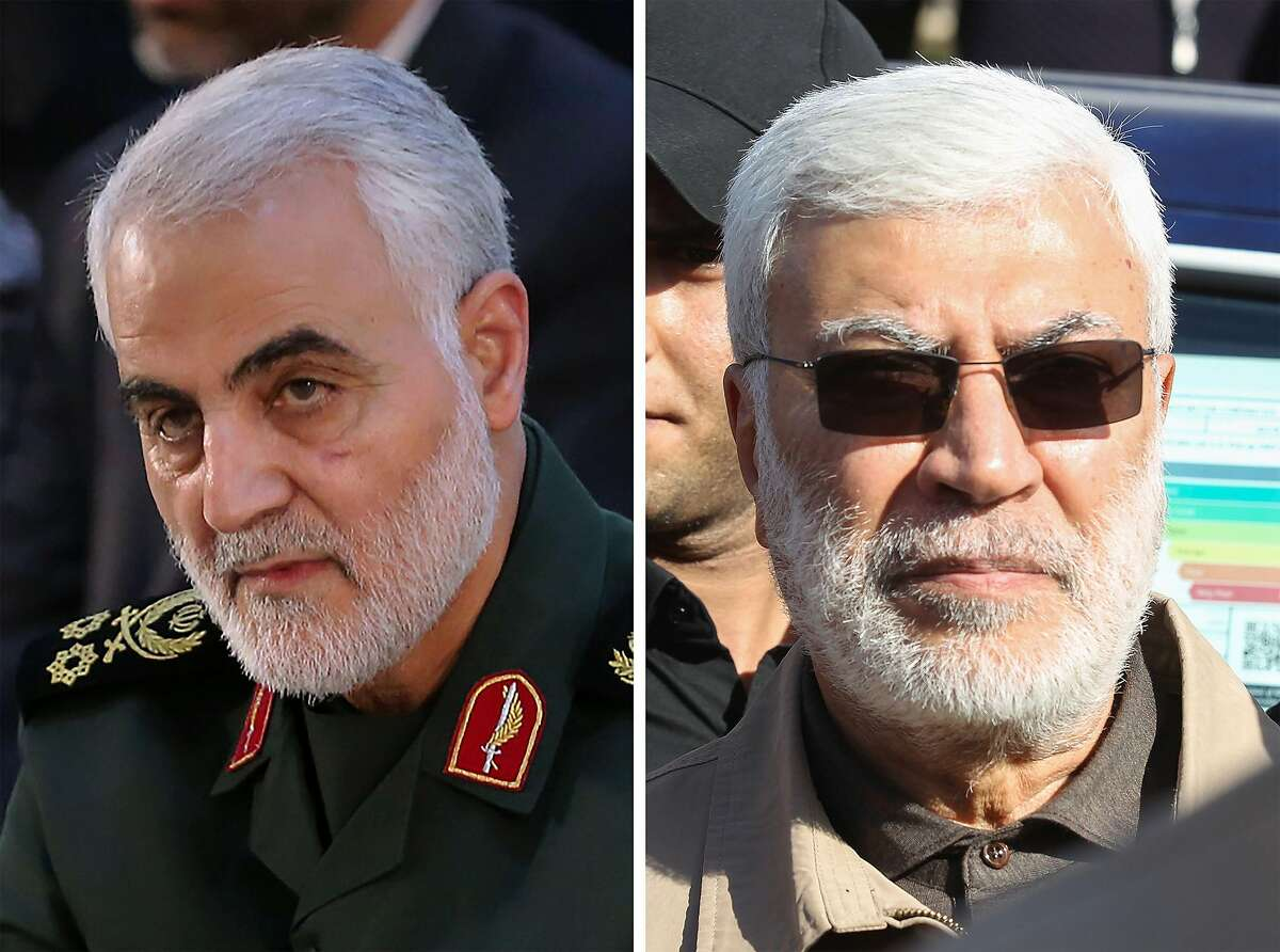 """CORRECTION - (COMBO) This combination of file photos shows a handout picture provided by the office of the Iranian Ayatollah Ali Khamenei on June 4, 2019 of Iranian Major General in the Islamic Revolutionary Guard Corps (IRGC) Qasem Soleimani (L) in Tehran; and a file photo taken on December 31, 2019 of Abu Mahdi al-Muhandis (R), a commander in the Popular Mobilization Forces, attending a funeral procession of Hashed al-Shaabi fighters in Baghdad. - A US strike killed top Iranian commander Qasem Soleimani and the deputy head of Iraq's Hashed al-Shaabi military force, Abu Mahdi al-Muhandis, at Baghdad's airport early on January 3, 2020, the Hashed announced. (Photo by Handout and Ahmad AL-RUBAYE / IRANIAN SUPREME LEADER'S WEBSITE / AFP) / --- RESTRICTED TO EDITORIAL USE - MANDATORY CREDIT """"AFP PHOTO / KHAMENEI.IR"""" - NO MARKETING - NO ADVERTISING CAMPAIGNS - DISTRIBUTED AS A SERVICE TO CLIENTS / The erroneous mention[s] appearing in the metadata of this combo photo has been modified in AFP systems in the following manner: [January 3, 2020 in the second sentence] instead of [January 3, 2019]. Please immediately remove the erroneous mention[s] from all your online services and delete it (them) from your servers. If you have been authorized by AFP to distribute it (them) to third parties, please ensure that the same actions are carried out by them. Failure to promptly comply with these instructions will entail liability on your part for any continued or post notification usage. Therefore we thank you very much for all your attention and prompt action. We are sorry for the inconvenience this notification may cause and remain at your disposal for any further information you may require. (Photo by HANDOUT,AHMAD AL-RUBAYE/IRANIAN SUPREME LEADER'S WEBSITE/AFP via Getty Images)"""