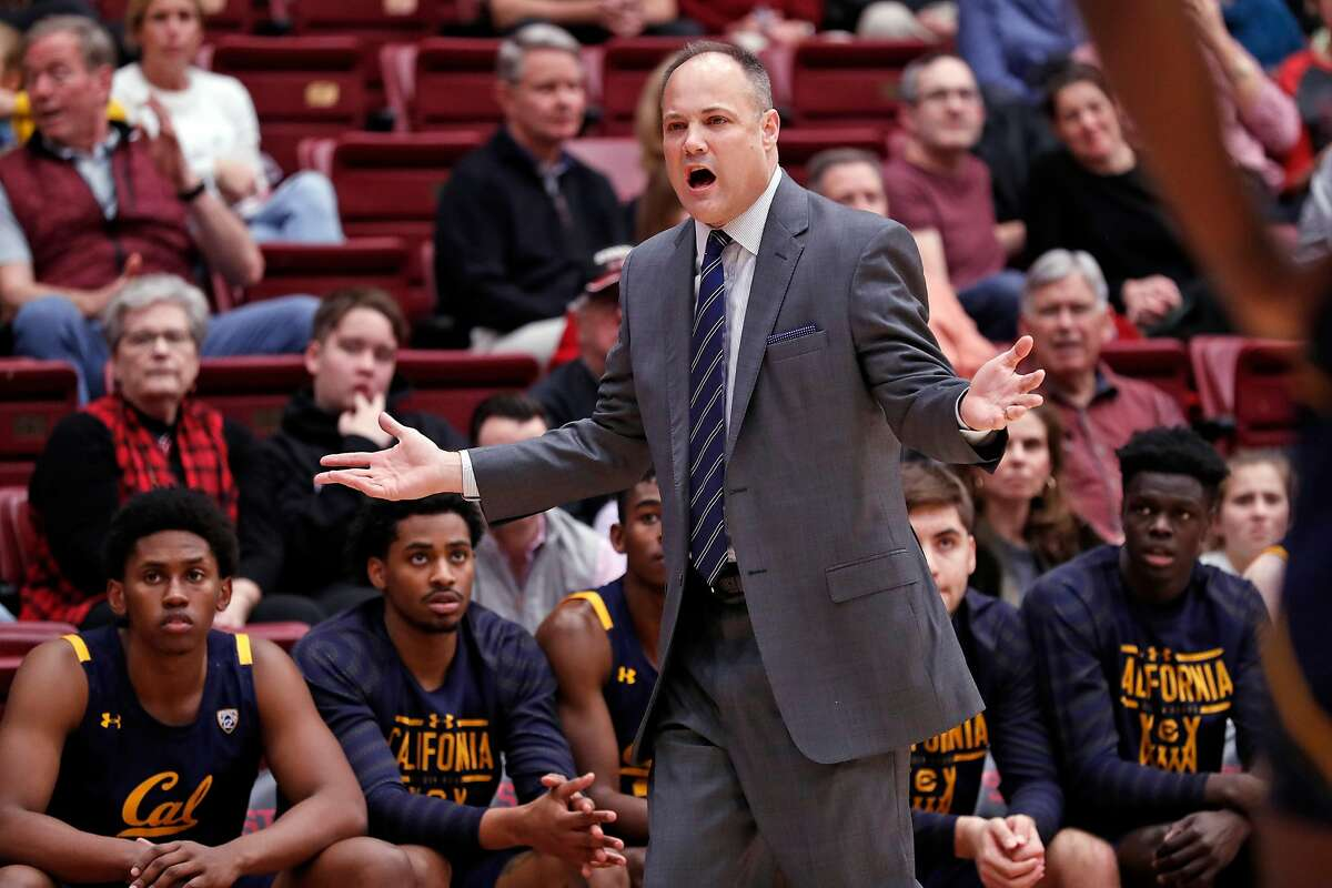 California head coach Mark Fox reacts to an official's call in 1st half of Pac 12 men's basketball game against Stanford at Maples Pavilion in Stanford, Calif., on Thursday, January 2, 2020..