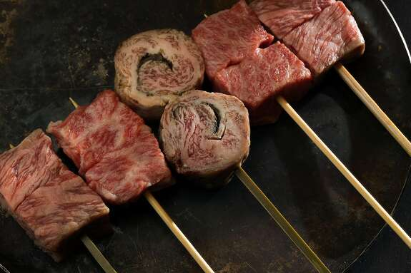 The selection of A5 snow beef kushiyaki served at Gozu restaurant where one of the specialties is Wagyu beef in San Francisco, Calif., on Wednesday, December 18, 2019.