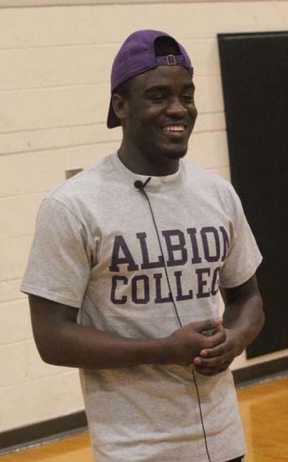 Phillip Jones-Price smiles last February after announcing his decision to play at Albion. Photo: Pioneer File Photo