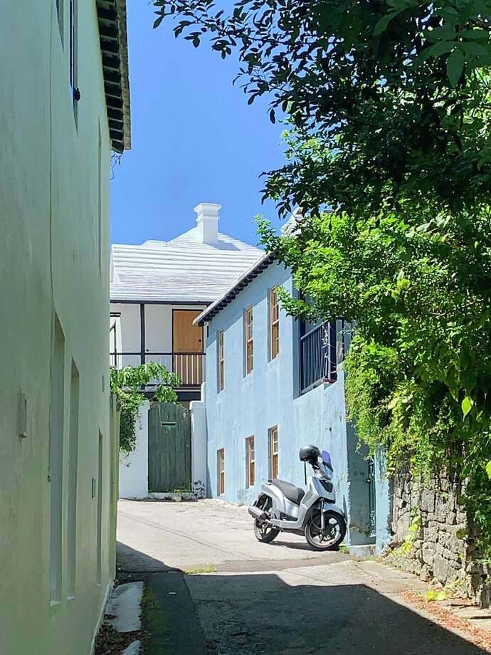 You'll see a scooter or two in front of most houses in Bermuda. Photo: Washington Post Photo By Elizabeth Chang / The Washington Post