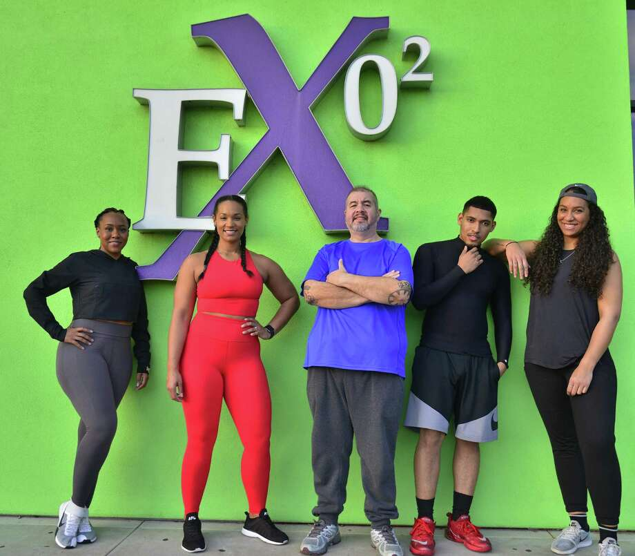 Trinell Maxie, from left, Mariah Sexton, Edwin Broussard, Joseph Brooks and Erikka Walker at Exygon Health and Fitness. Photo: John Fulbright