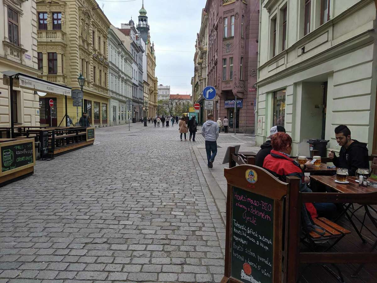 Outdoor cafes in Pilsen near the city's main square, in the Czech Republic.