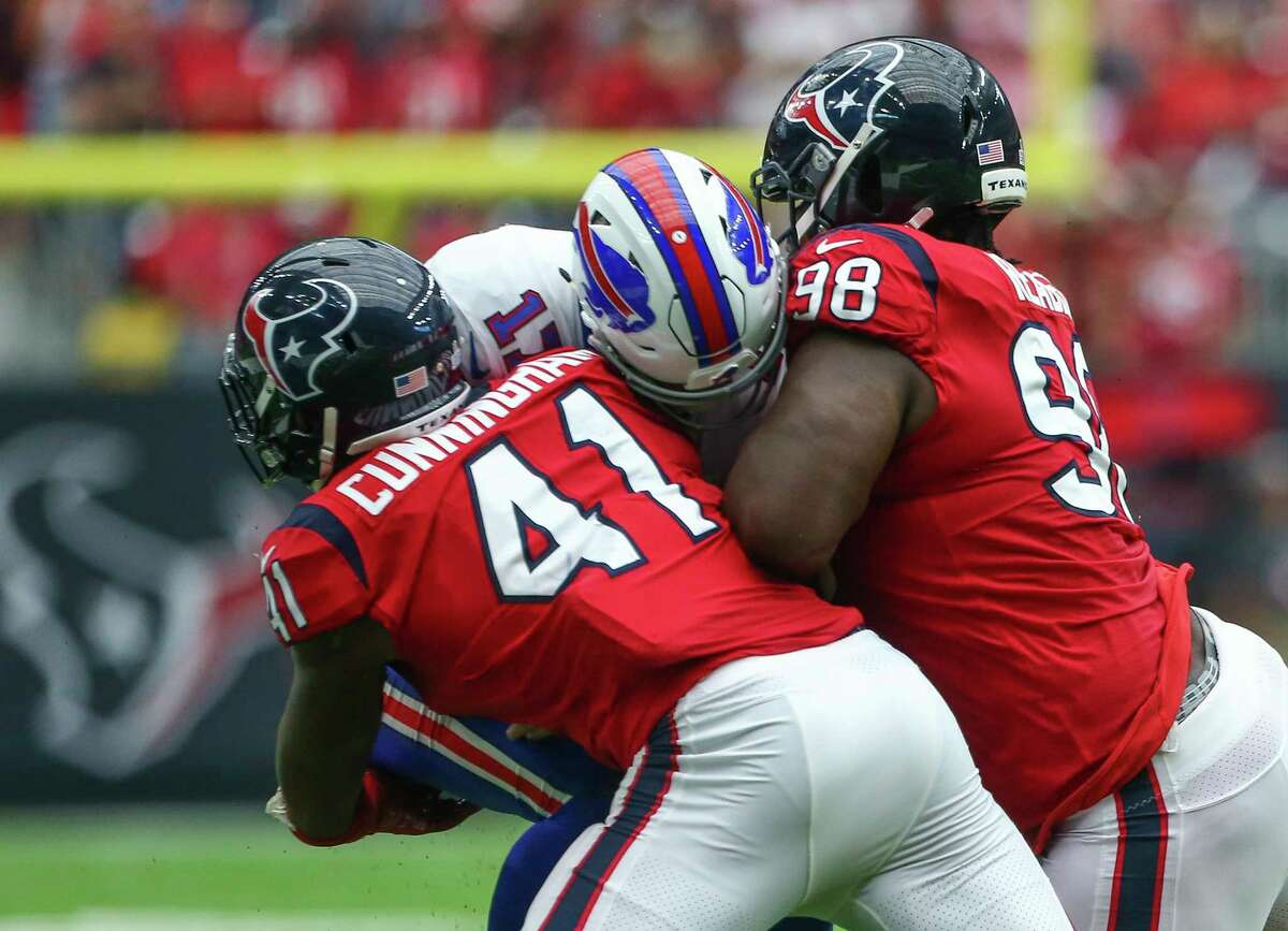 The Texans look to make it consecutive seasons with a home win over Buffalo when the Bills visit NRG Stadium for a wild-card playoff game Saturday.