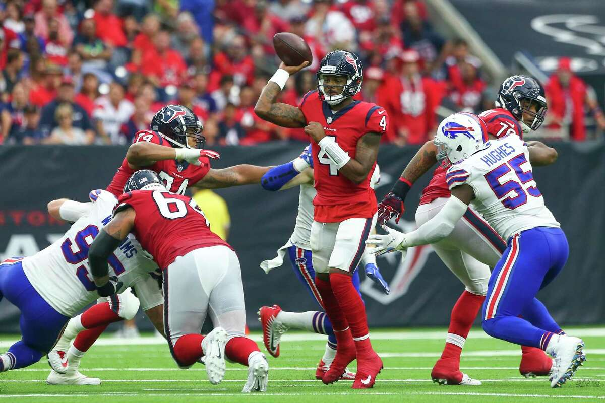 The Texans will have to protect Deshaun Watson from talented Bills pass rushers such as Jerry Hughes.
