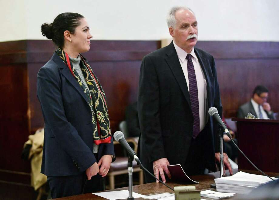 State's Attorney Justina Moore, left, appears at Superior Court in New Haven with her attorney Eugene Riccio Jan. 3. Photo: Erik Trautmann / Hearst Connecticut Media / Norwalk Hour