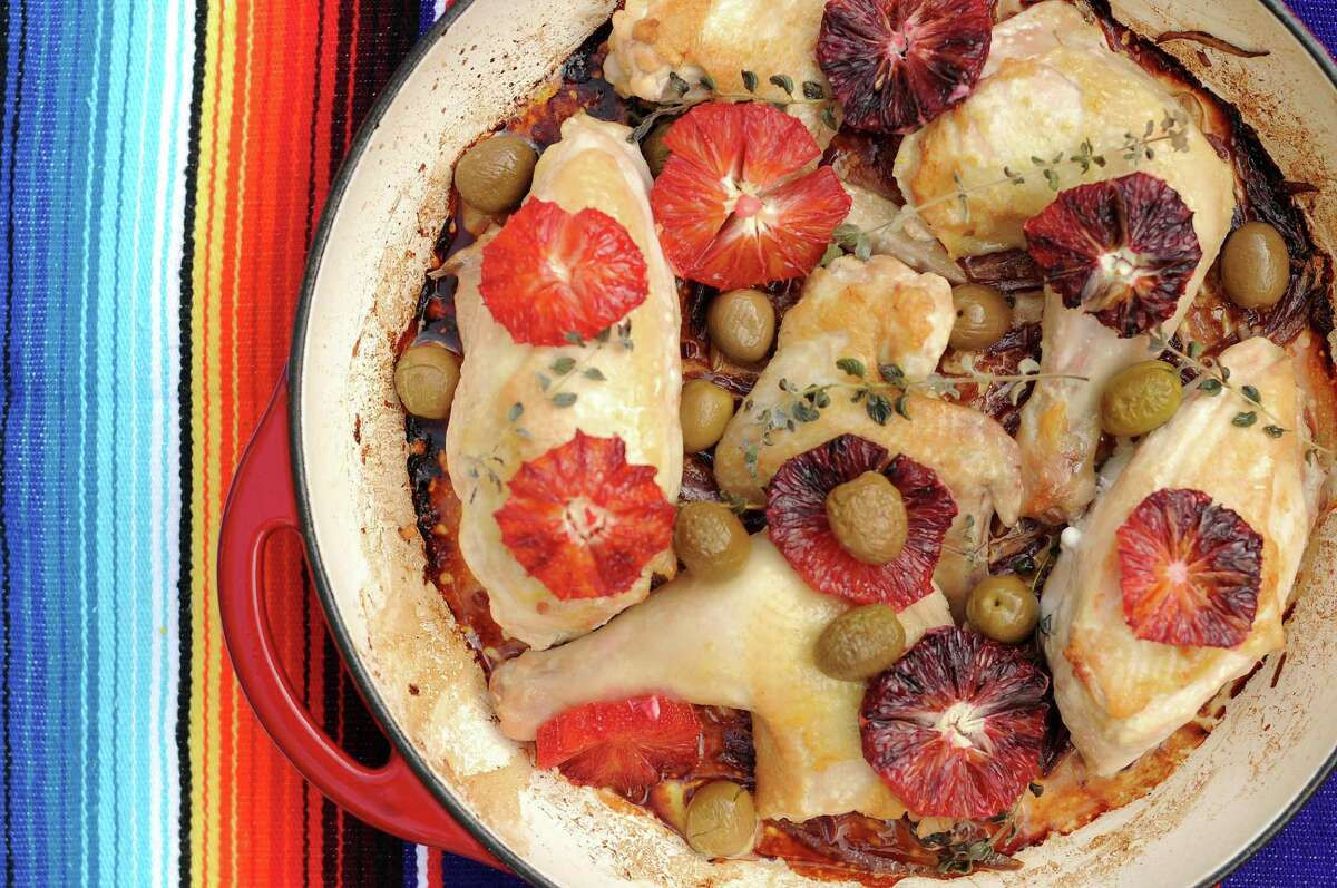 Chicken with Blood Oranges and Olives