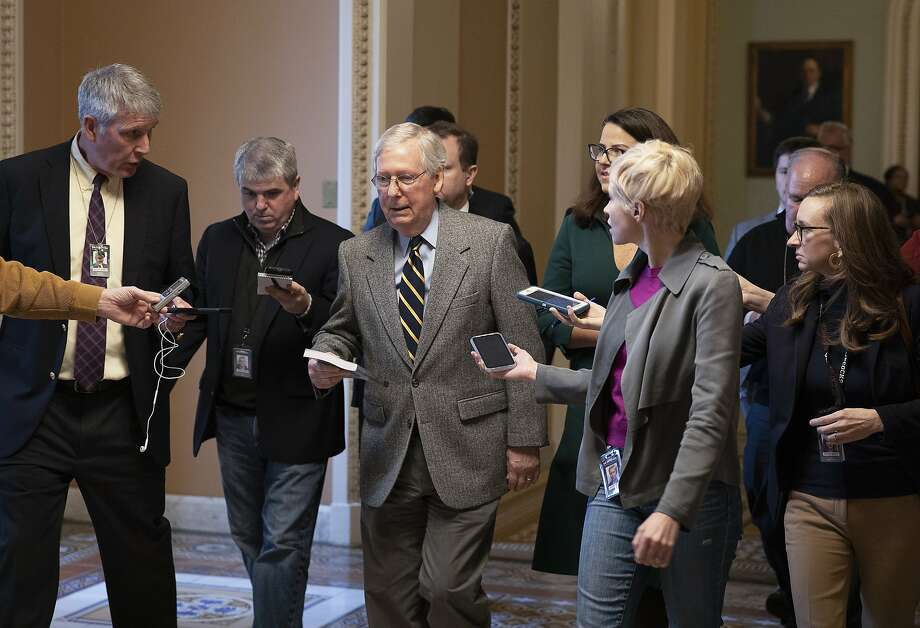 WASHINGTON, DC - JANUARY 03: Senate Majority Leader Mitch McConnell (R-KY) walks to his office from the Senate chamber at the U.S. Capitol on January 03, 2020 in Washington, DC. McConnell addressed senators amid the House impeachment against U.S. President Donald Trump and recent airstrike in Baghdad which killed Gen. Qassem Soleimani, one of Iran's top military figures. Photo: Tasos Katopodis, Getty Images