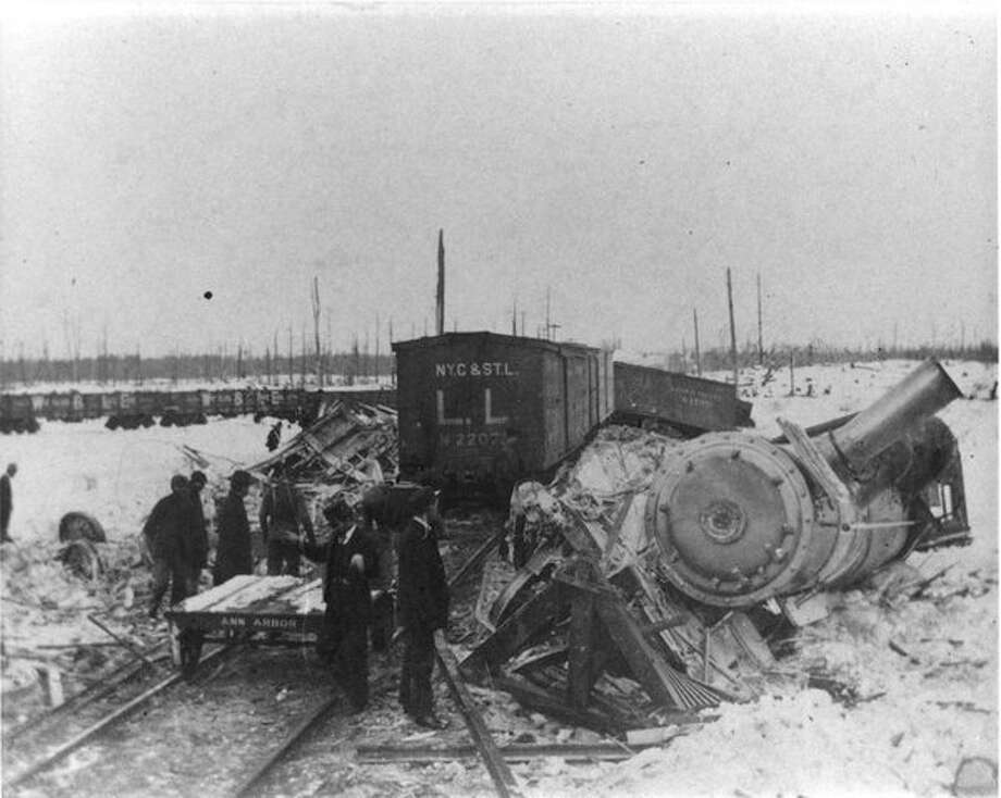 Derailment train wrecks were a frequent hazard on some sections of the Ann Arbor Railroad if crews weren't diligent. (Courtesy Photo/Griner Family Collection)