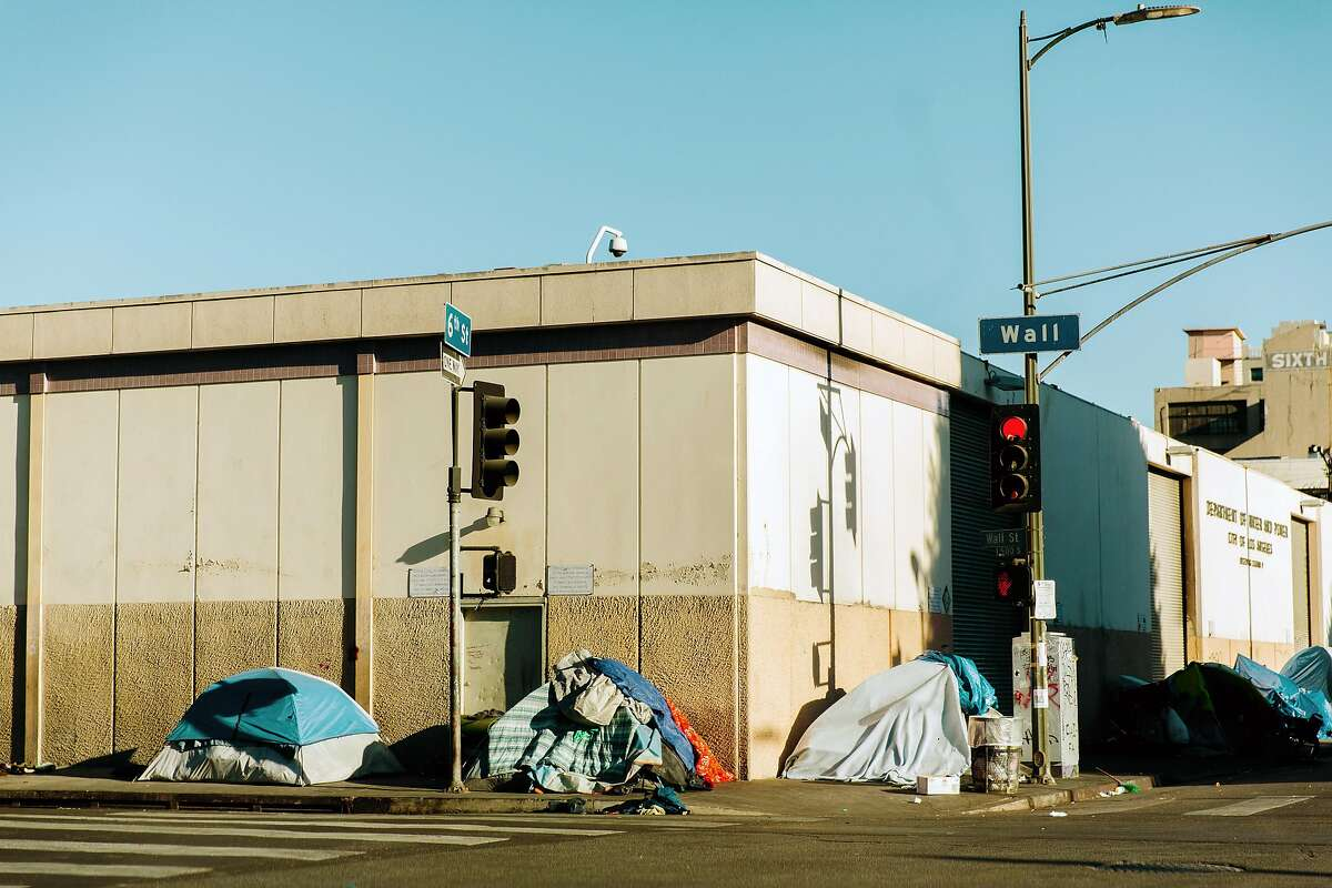 Skid Row in downtown Los Angeles, which has the largest homeless population in the country, on Nov. 16, 2019. African-Americans make up 8 percent of Los Angeles County's population, but they are 42 percent of the homeless population. (Bethany Mollenkof/The New York Times)