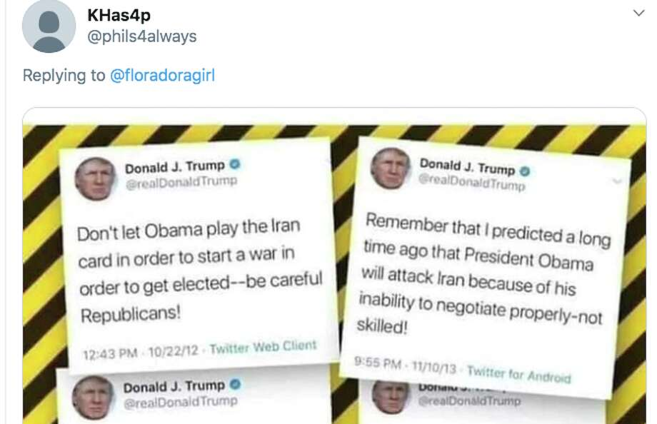 Twitter users dig up Trump's tweets from 2011-13 asserting that then-President Barack Obama would attack Iran in order to get re-elected. Photo: Twitter