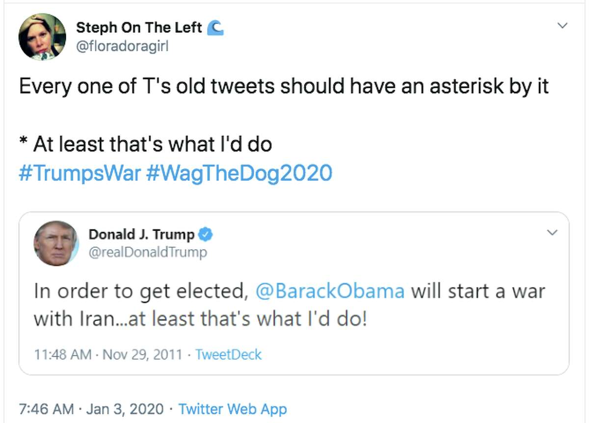 Twitter users dig up Trump's tweets from 2011-13 asserting that then-President Barack Obama would attack Iran in order to get re-elected.