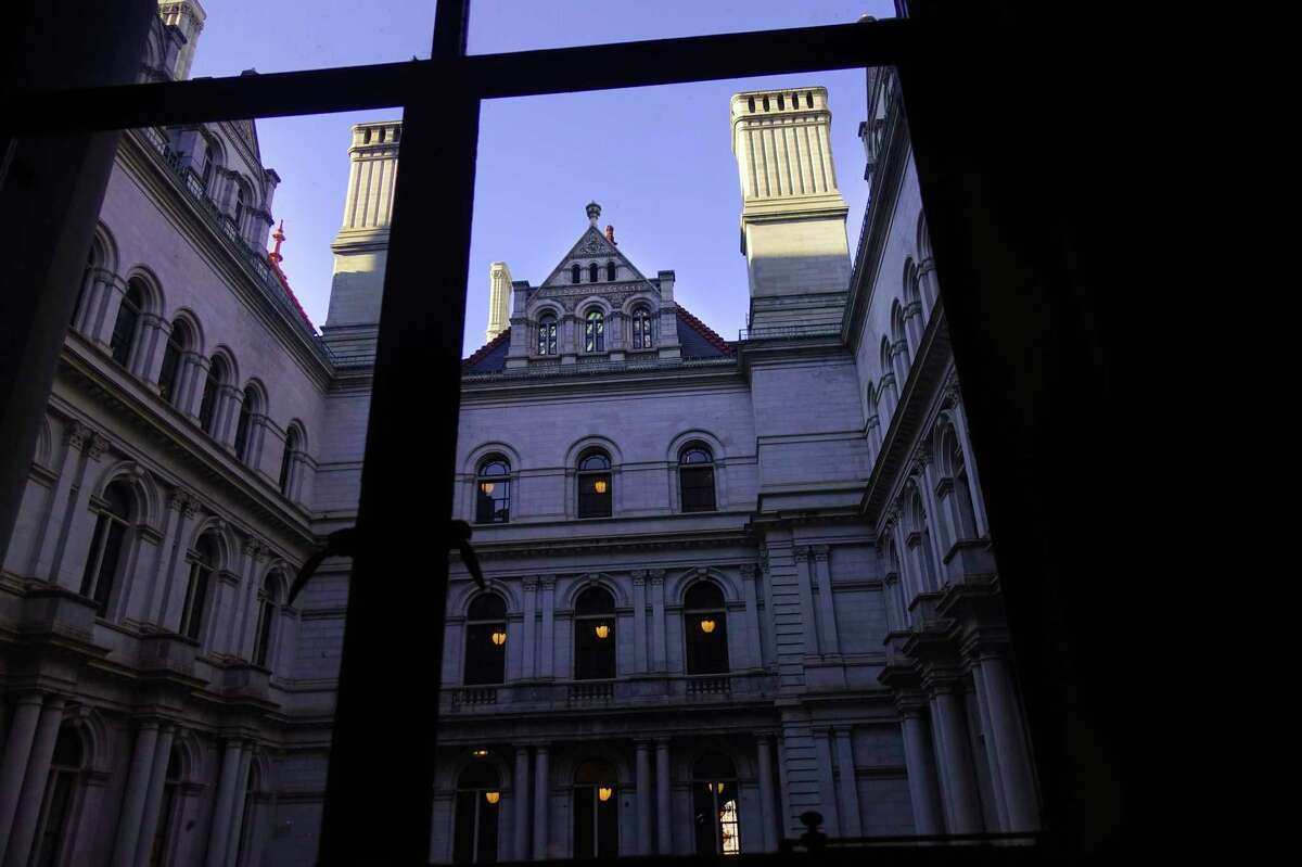A view looking out a second floor window from inside the New York State Capitol on Thursday, Jan. 2, 2020, in Albany, N.Y. (Paul Buckowski/Times Union)