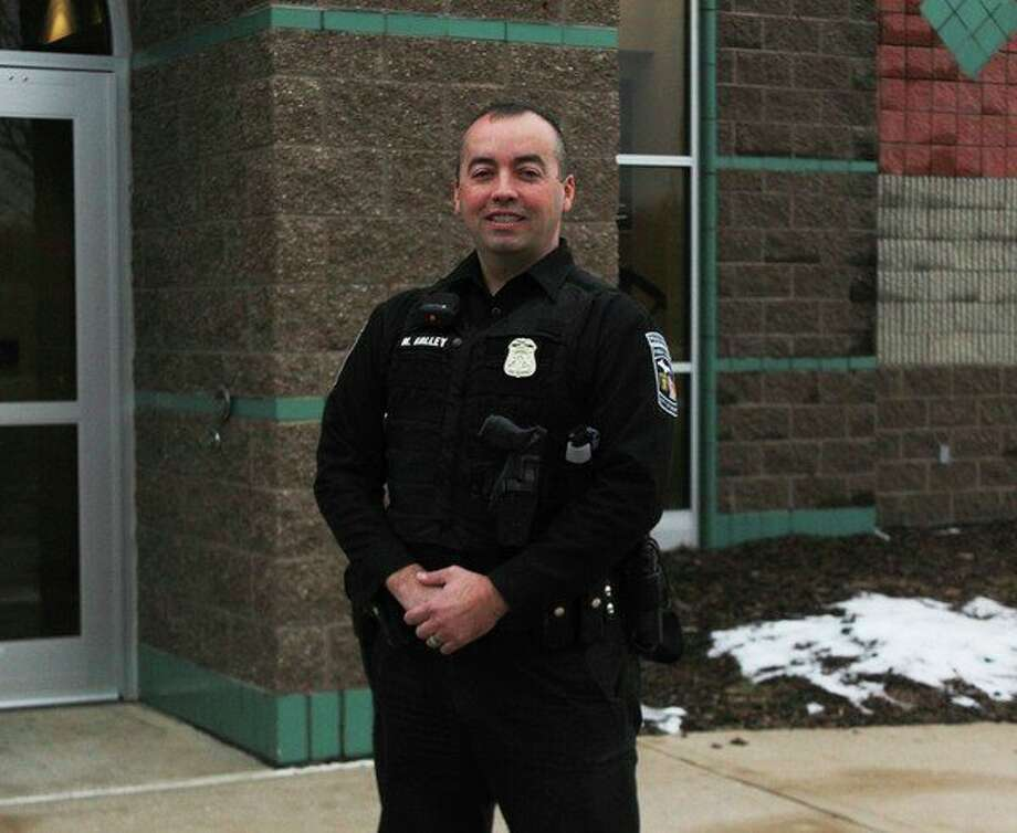 Big Rapids Department of Public Safety Officer Miguel Galley said he hopes to continue to meet new people in the community and build longevity in his career. (Pioneer photo/Taylor Fussman)