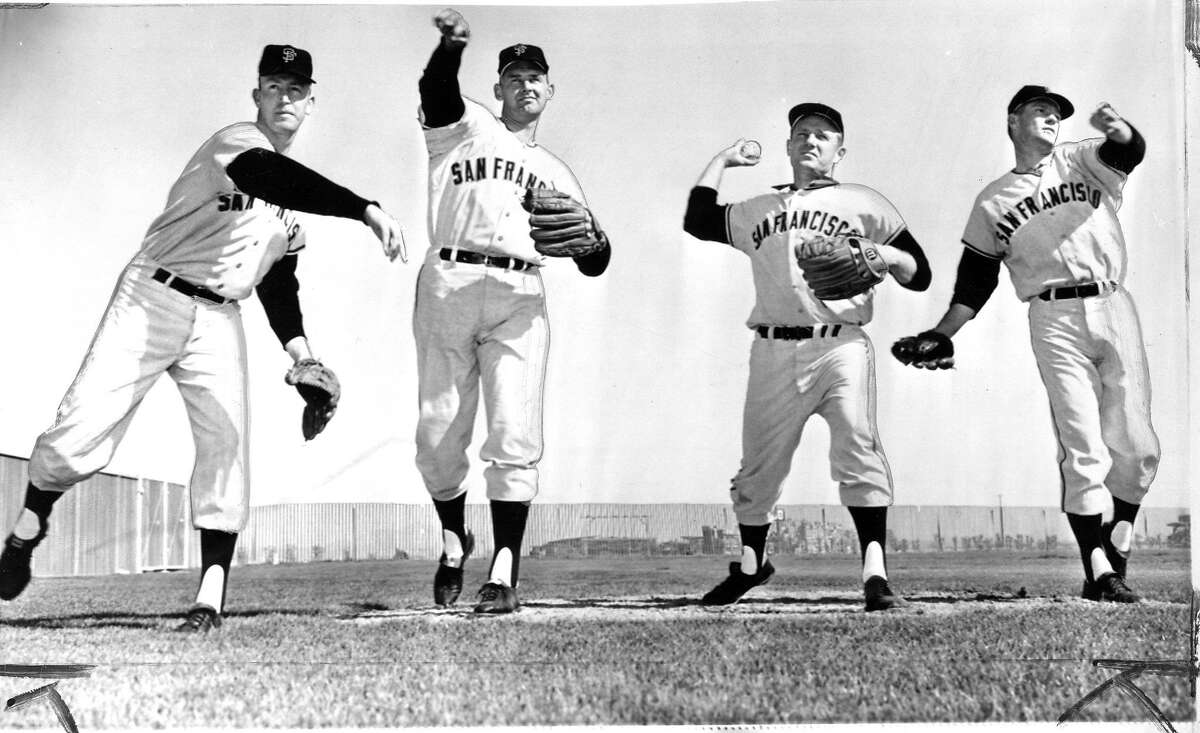 1964 Spring Training, a group of the San Francisco Giants pitchers, (l to r) Bob Bolin. Don Larsen,Jack Sanford and Billy O'Dell Associated Press photo ran 3/7/1964, p. 37