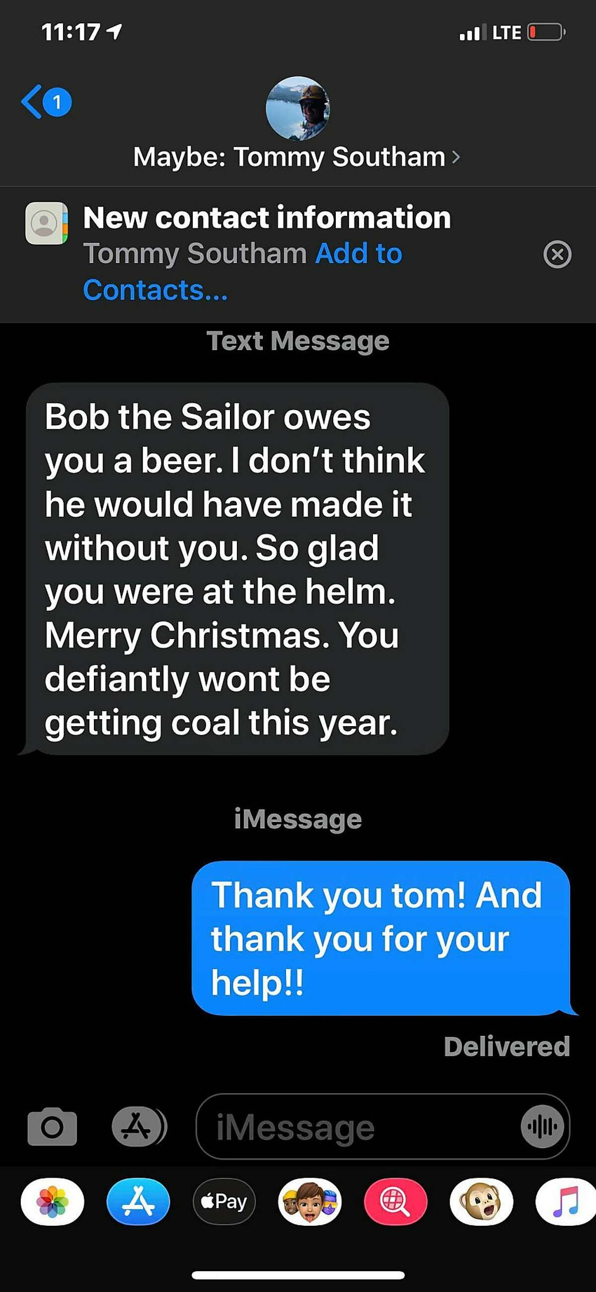A text message from ferry boat passenger Tom Southam congratulates boat captain Glenn Williams for his quick action to save the life of a man who had gone overboard into the Pacific Ocean on Friday, Dec. 20, 2019. Southam was a passenger aboard Williams' ferry, the Osprey, the evening when Williams noticed a sailboat bobbing in the water. He spotted the boat's owner floating on his back in the water and together with his deckhand and six passengers, they pulled the man aboard the Osprey where he revived.