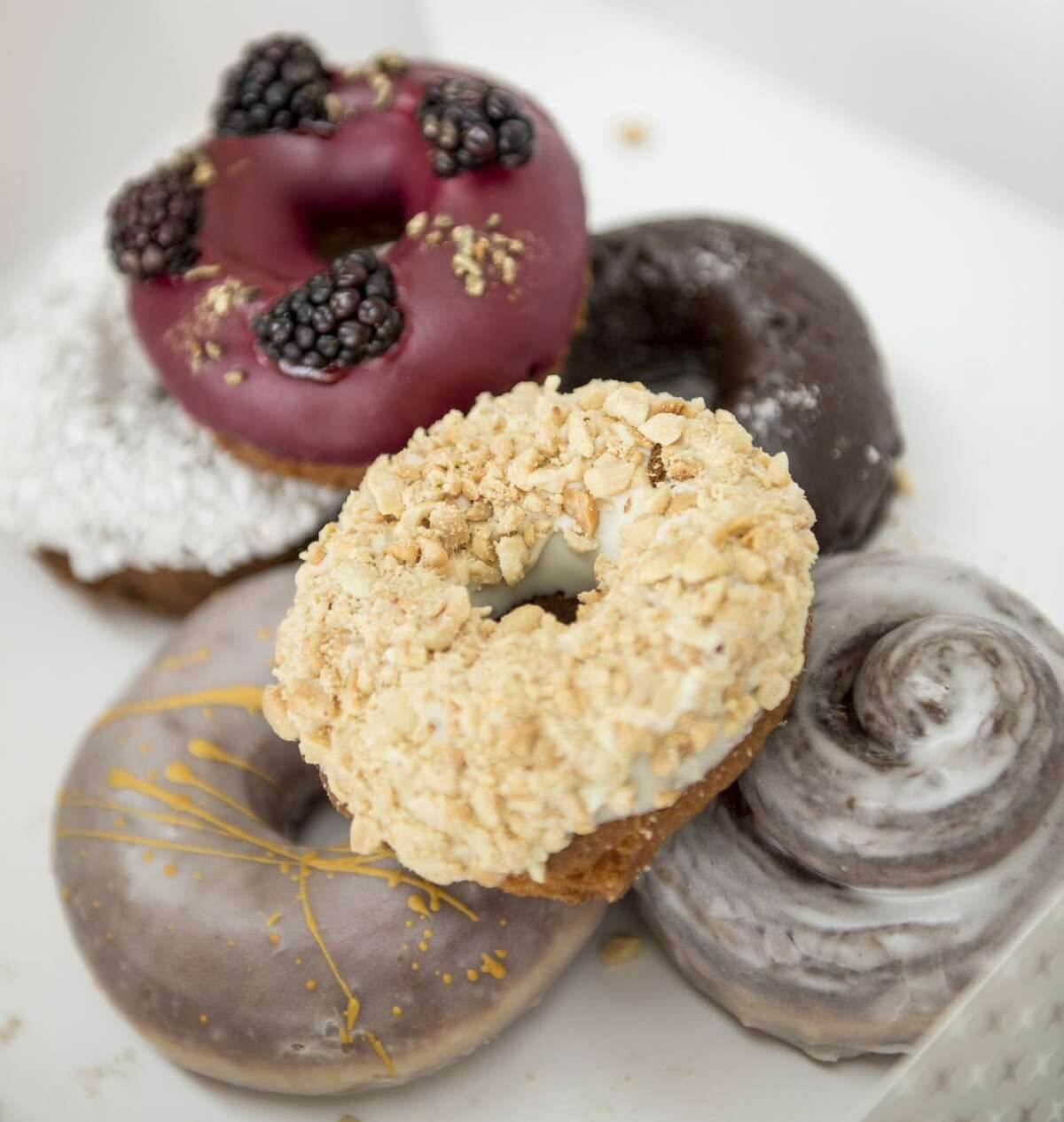 A collection of doughnuts offered at Maybelle's Donuts.