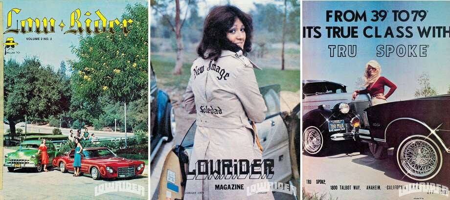 Covers of Lowrider magazine, including the inaugural 1977 issue of Lowrider magazine (center). | Lowrider