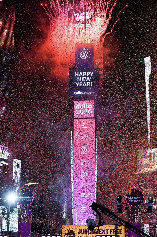 A view of fireworks during the Times Square New Year's Eve 2020 Celebration. A reader notes 2020 could be the final year of the decade or the first year of a new one. It's a matter of perspective. Either way, time keeps on slipping into the future. Photo: Noam Galai /Getty Images / 2019 Getty Images