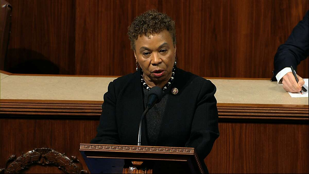 Rep. Barbara Lee, D-Calif.,speaks as the House of Representatives debates the articles of impeachment against President Donald Trump at the Capitol in Washington, Wednesday, Dec. 18, 2019. (House Television via AP)