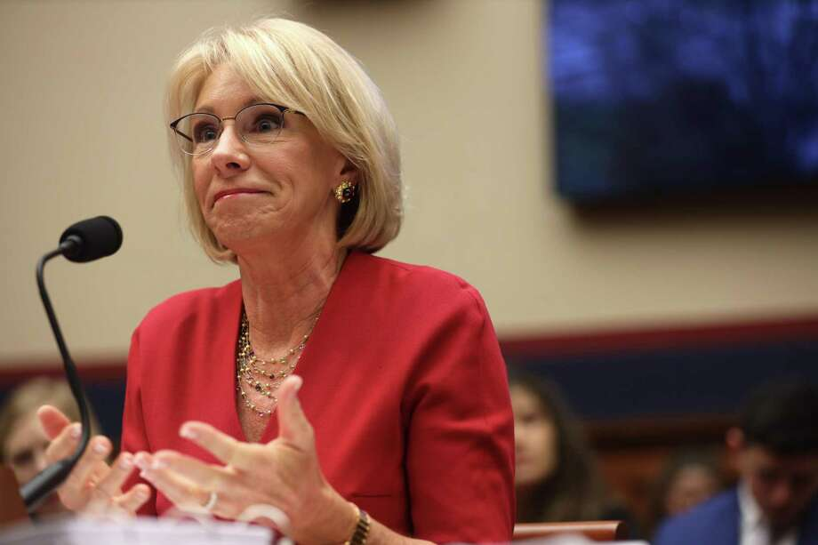 "U.S. Secretary of Education Betsy DeVos testifies during a hearing before House Education and Labor Committee Dec. 12 on Capitol Hill in Washington, DC. The committee held a hearing on ""Examining the Education Department's Implementation of Borrower Defense."" Photo: Alex Wong / Getty Images / 2019 Getty Images"