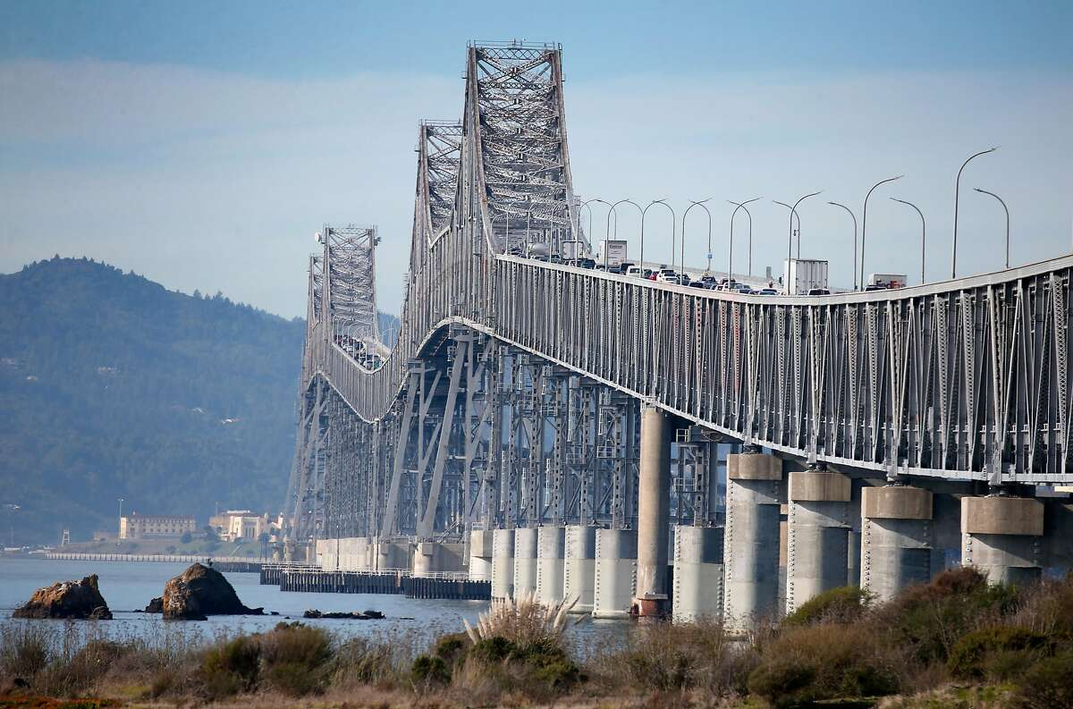 Vehicles travel across the Richmond-San Rafael Bridge in Richmond, Calif. on Tuesday, Dec. 31, 2019. State assemblyman Marc Levine is urging Caltrans consider rebuilding the aging span that links Marin and Contra Costa counties.