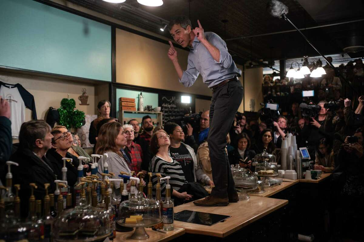 Former Rep. Beto O'Rourke campaigns at the Bean Counter in Burlington, Iowa on day one of a planned three-day tour of the state, March 14, 2019. O'Rourke, whose near-miss Senate run last year propelled him to Democratic stardom, announced on Thursday that he was running for president, betting that a broad message of national unity and generational change will lift him above a slate of committed progressives offering big-ticket policy ideas. (Todd Heisler/The New York Times)