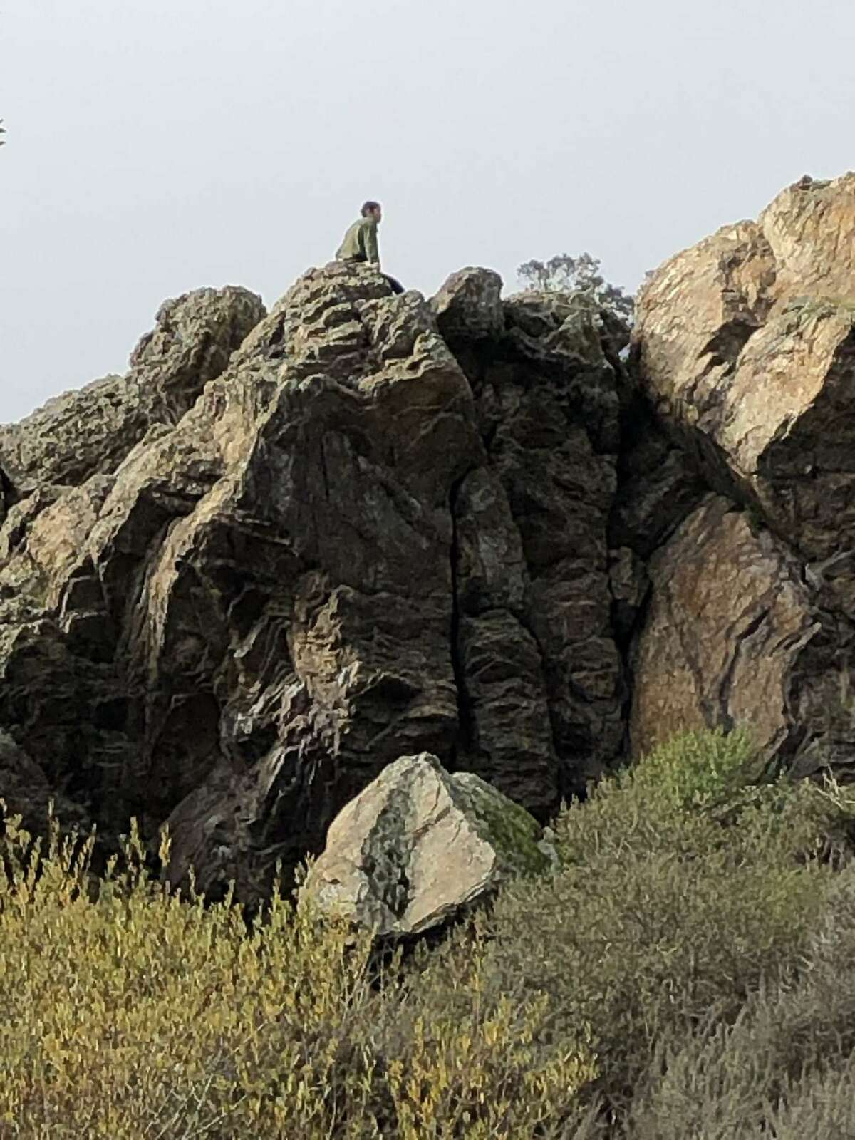 Steep rock formations called Coyote Crag in Glen Canyon Park, San Francisco.