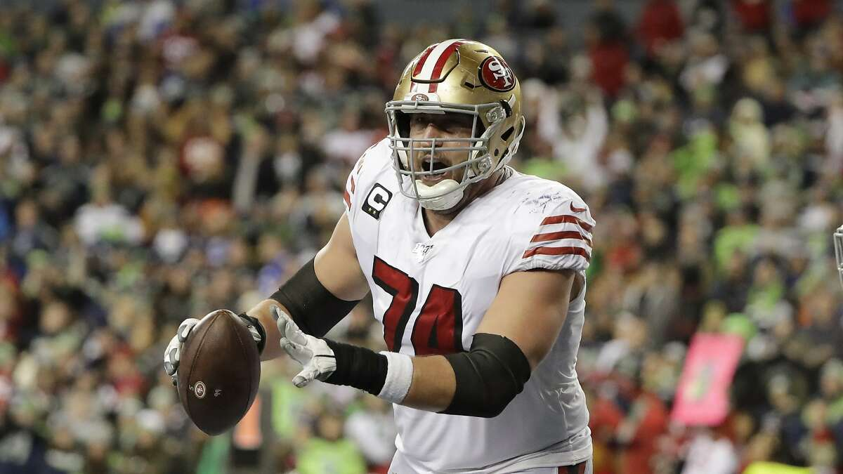San Francisco 49ers offensive tackle Joe Staley reacts after his team scored against the Seattle Seahawks during the second half of an NFL football game, Sunday, Dec. 29, 2019, in Seattle. (AP Photo/Ted S. Warren)