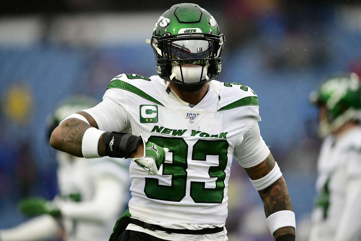 New York Jets strong safety Jamal Adams (33) warms up before an NFL football game against the Buffalo Bills Sunday, Aug. 26, 2018, in Orchard Park, N.Y. (AP Photo/David Dermer)