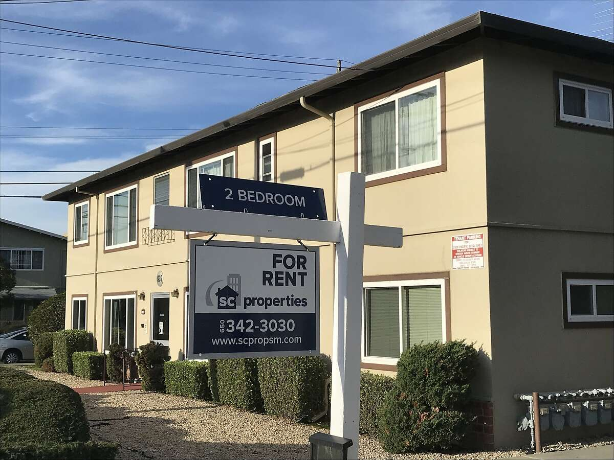 An apartment building in San Mateo, Calif., advertises an available rental on Friday, Jan. 3, 2020