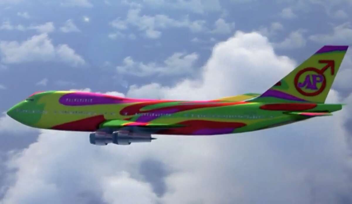 Something's not right about the timing of Austin Powers' groovy Boeing 747.