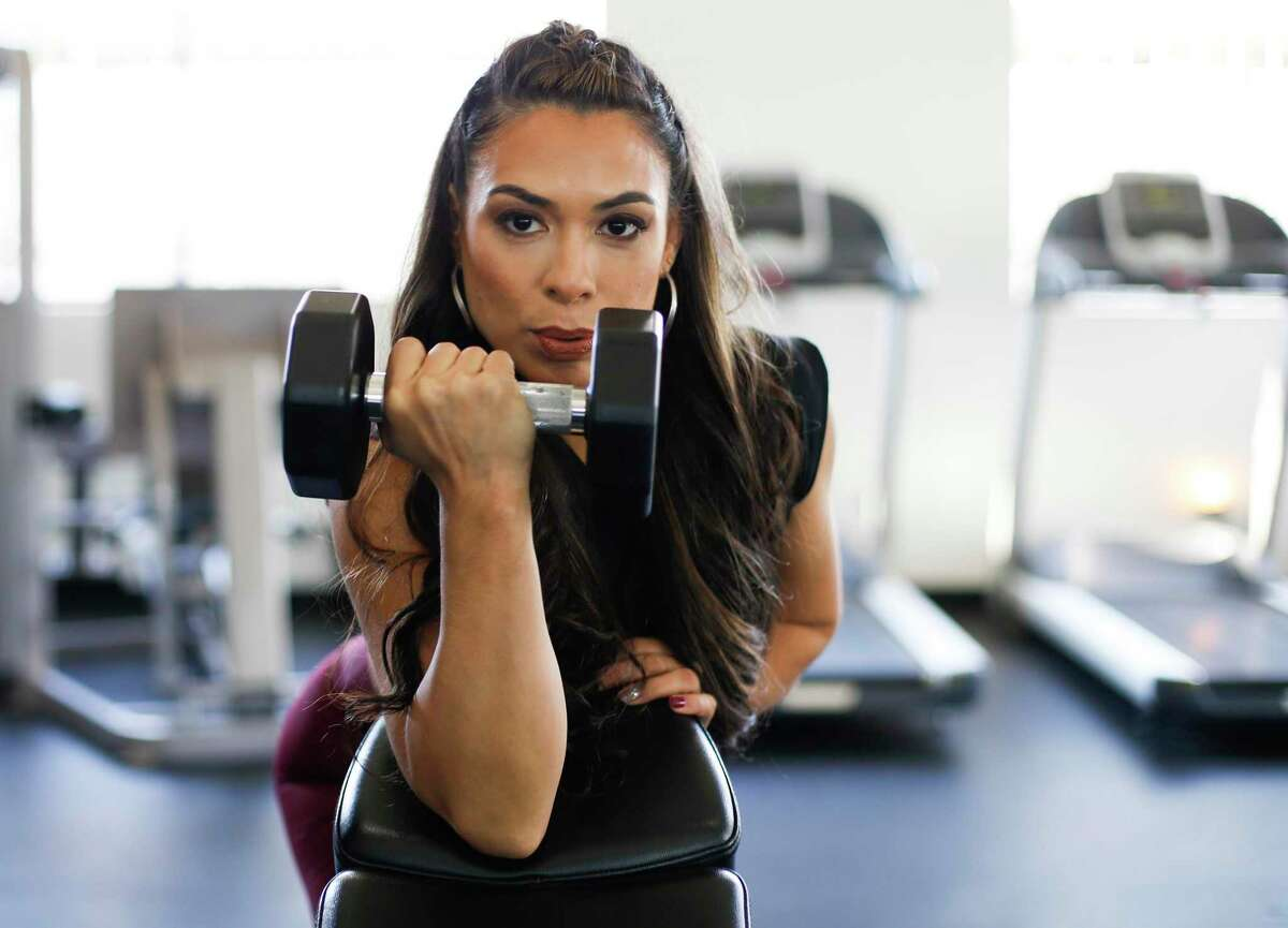 Cintia Guerra at her gym, The Body Shop HTX. Guerra recently lost 40 pounds after realizing that she had clinical depression and learning to ask for help.