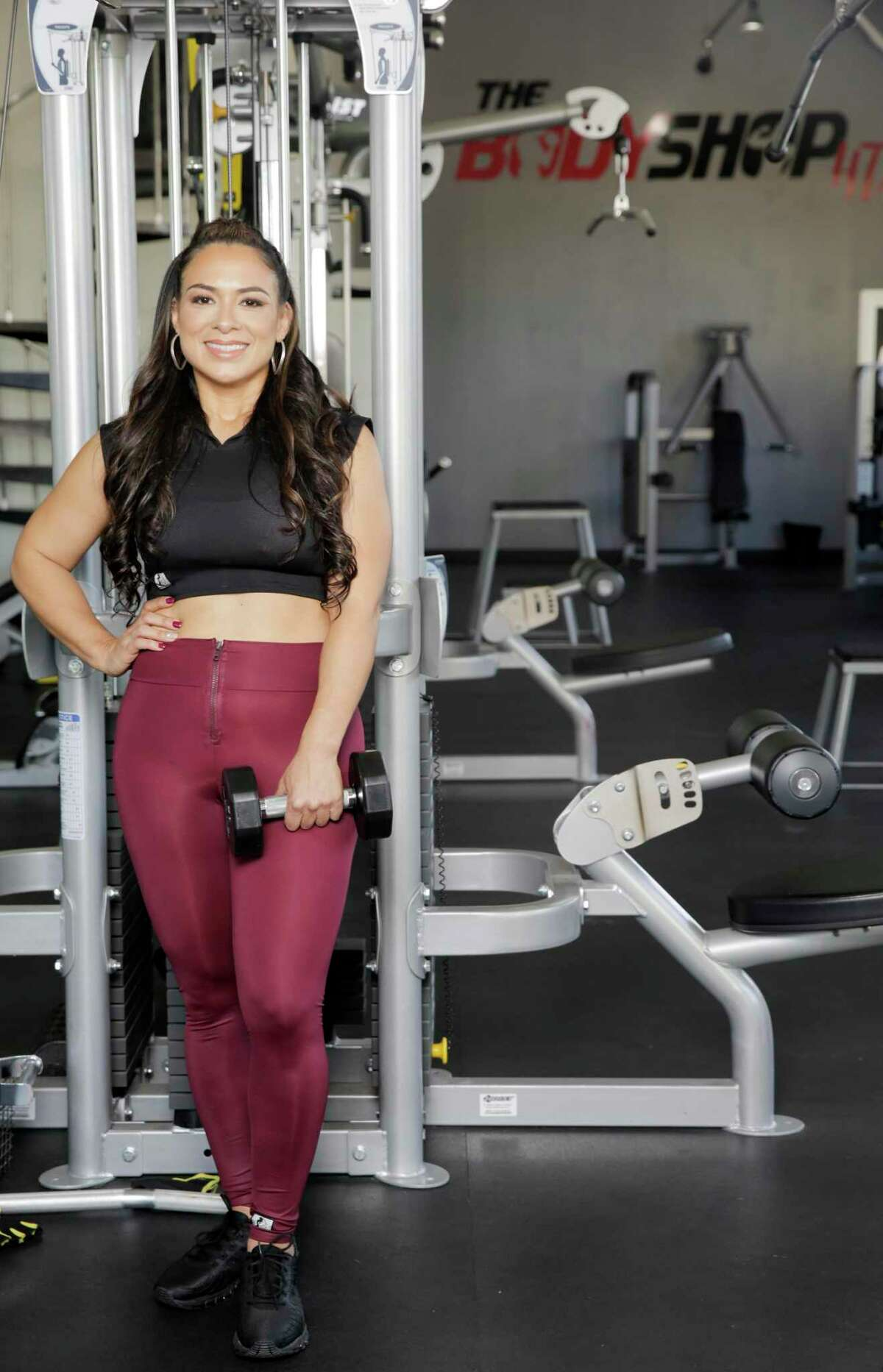 """Cintia Guerra, 40, at her gym, The Body Shop HTX. """"I had to learn to give myself grace,"""" she said of her fitness journey, in which she has lost 40 pounds."""