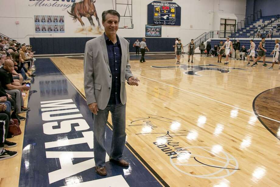 Former Kingwood coach Robert Huesman was honored on Friday afternoon during the Mustangs' District 22-6A game against Pasadena. Photo: Savannah Mehrtens Staff Photo