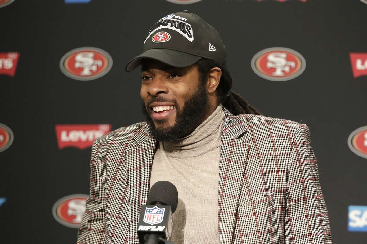 San Francisco 49ers' Richard Sherman speaks at a news conference after an NFL football game against the Seattle Seahawks, Sunday, Dec. 29, 2019, in Seattle. (AP Photo/Stephen Brashear)