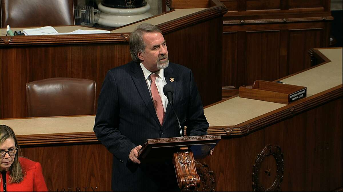 Rep. Doug LaMalfa, R-Calif., speaks as the House of Representatives debates the articles of impeachment against President Donald Trump at the Capitol in Washington, Wednesday, Dec. 18, 2019. (House Television via AP)