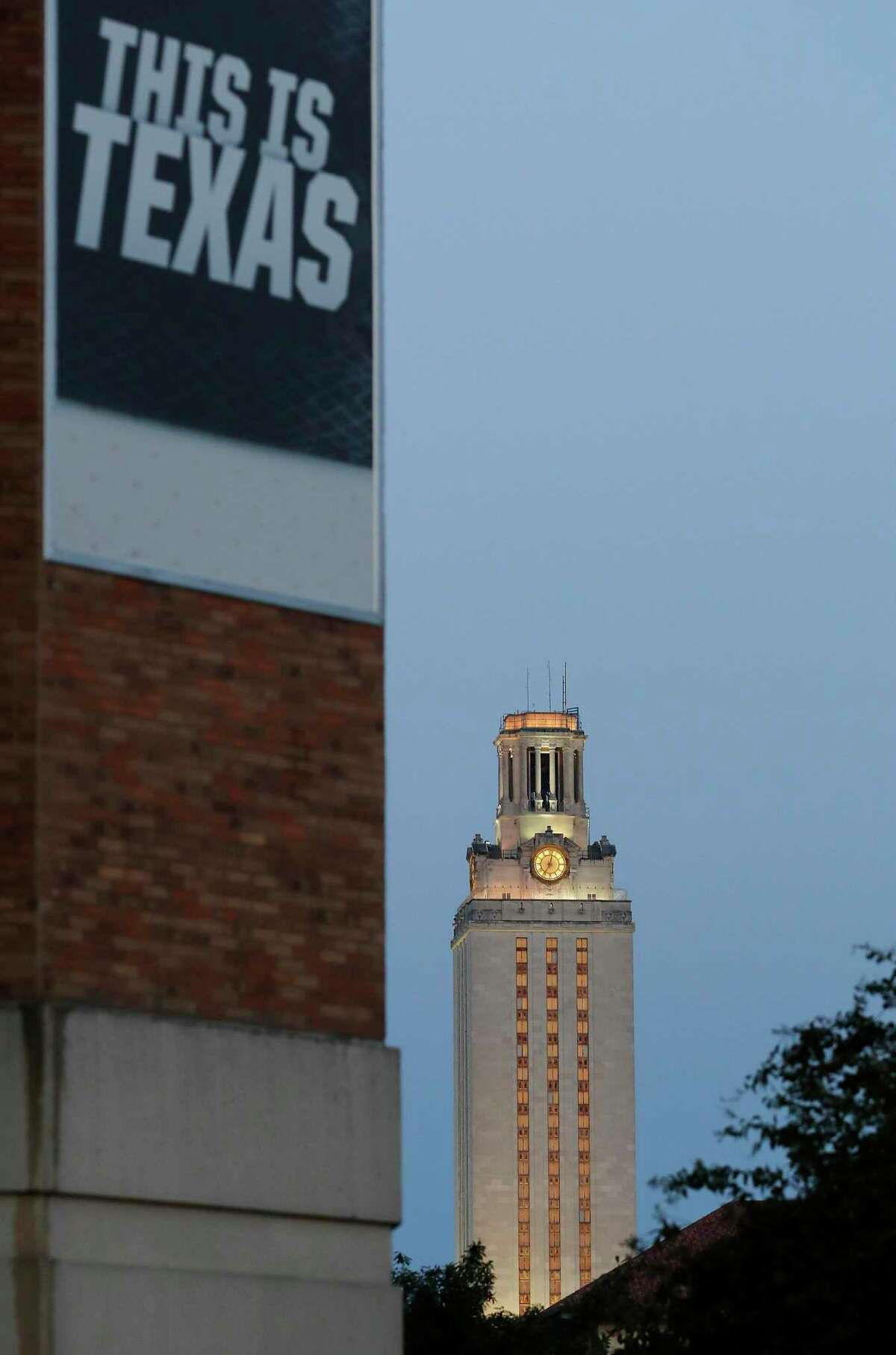 A view from afar of the University of Texas Tower at the main campus in Downtown Austin, Texas.
