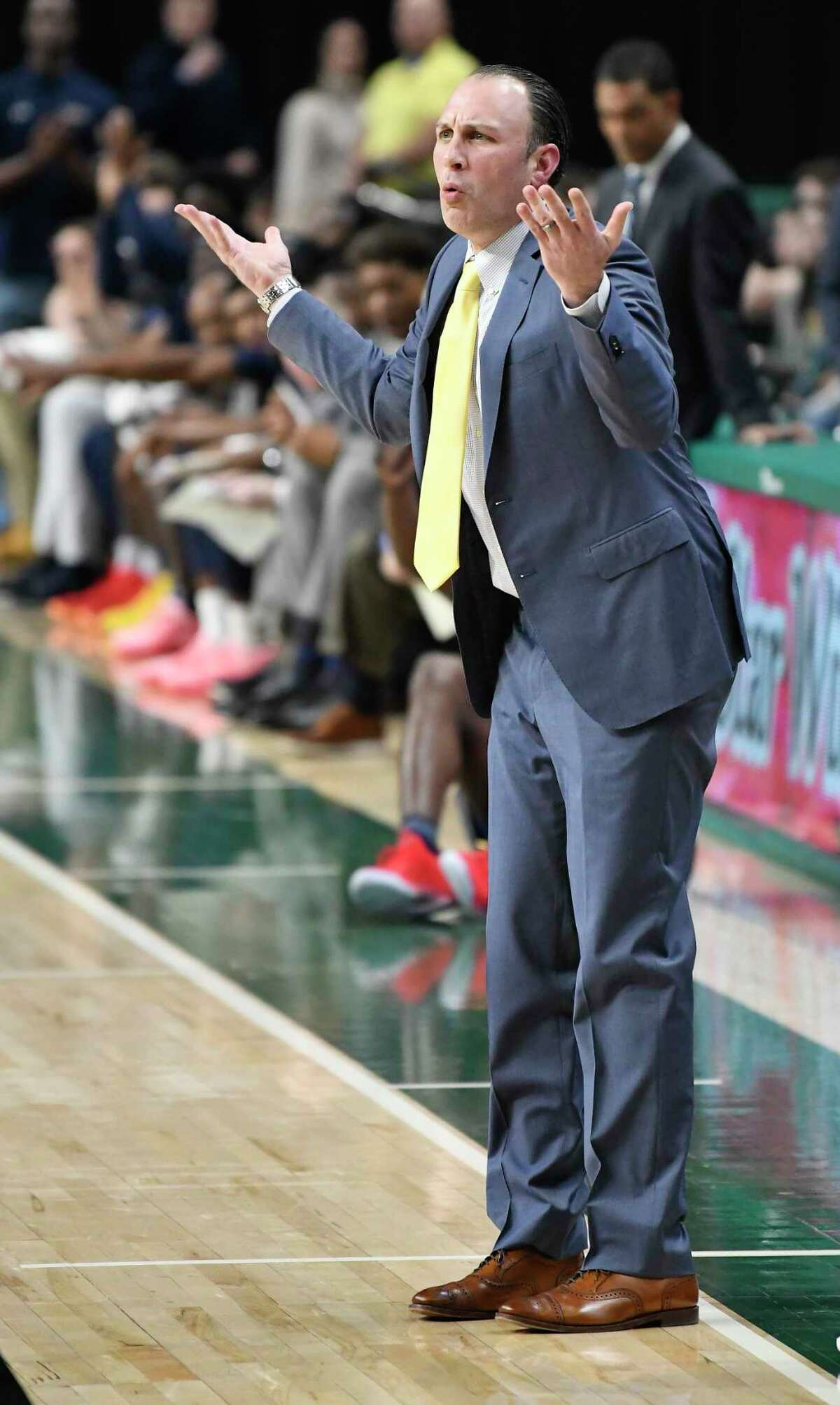 Siena head coach Carmen Maciariello reacts to a officials call during the second half of an NCAA basketball game against Monmouth Friday, Jan. 3, 2020, in Albany, N.Y. Siena won 75-72. (Hans Pennink / Special to the Times Union) ORG XMIT: 010420_siena_HP112
